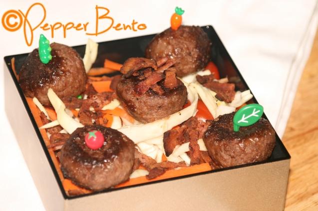 Soy Glazed Extra Crispy Meatball Salad Bento Lunch Box CU